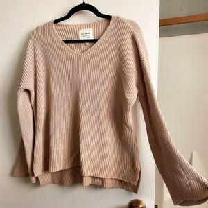 beige v-neck bell sleeve sweater